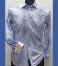 Antonio Martini Contrasting French Cuff 100% Cotton Shirt - Blue Check
