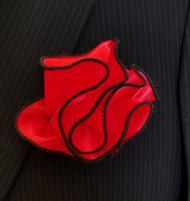 Antonio Ricci 2-in-1 Pouf Pocket Square - Black Trim on Red