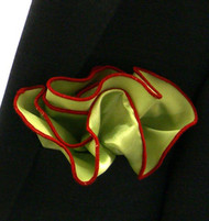 Antonio Ricci 2-in-1 Pouf Pocket Square - Red on Sage Green