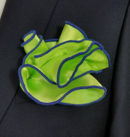 Antonio Ricci 2-in-1 Pouf Pocket Square - Royal on Bright Green