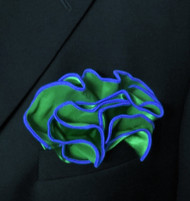 Antonio Ricci 2-in-1 Pouf Pocket Square - Royal on Green