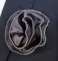 Antonio Ricci 2-in-1 Pouf Pocket Square - Charcoal on Charcoal