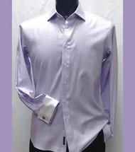 Antonio Martini Contrasting French Cuff 100% Cotton Shirt -  Light Purple Windowpane