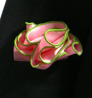Antonio Ricci 2-in-1 Pouf Pocket Square - Bright Green on Pink