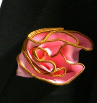 Antonio Ricci 2-in-1 Pouf Pocket Square - Gold on Pink