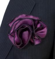 Antonio Ricci 2-in-1 Pouf Pocket Square - Black on Purple