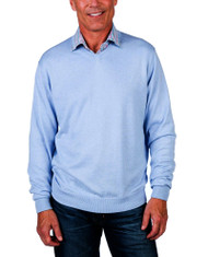 Alashan Douglas Anthony Cotton & Cashmere V-Neck Sweater -Weekend Blue