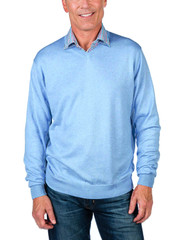 Alashan Douglas Anthony Cotton & Cashmere V-Neck Sweater - Cerulean Blue