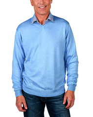 Alashan Douglas Anthony Cotton & Cashmere V-Neck Sweater -Wave Blue