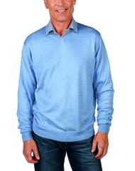 Alashan Douglas Anthony Cotton & Cashmere V-Neck Sweater -Wave Blue