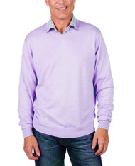 Alashan Douglas Anthony Cotton & Cashmere V-Neck Sweater -Lavender Ice