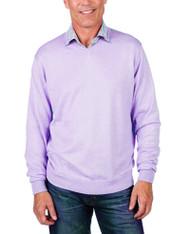 Alashan Douglas Anthony Cotton & Cashmere V-Neck Sweater -Lavender Ice