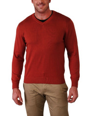 Alashan Douglas Anthony Cotton & Cashmere V-Neck Sweater -Scarlet Red