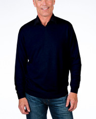 Alashan Douglas Anthony Cotton & Cashmere V-Neck Sweater -Midnight Blue