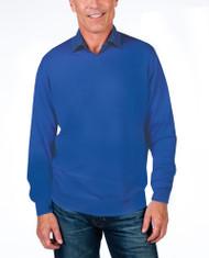 Alashan Douglas Anthony Cotton & Cashmere V-Neck Sweater -Blue Chill