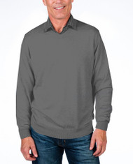 Alashan Douglas Anthony Cotton & Cashmere V-Neck Sweater -Steel Grey
