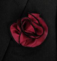 Antonio Ricci 2-in-1 Pouf Pocket Square - Black on Raspberry
