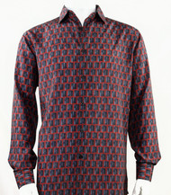 Bassiri Burgundy Prism Design Long Sleeve Camp Shirt