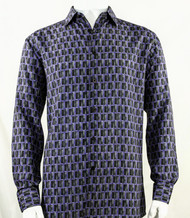 Bassiri Purple Prism Design Long Sleeve Camp Shirt