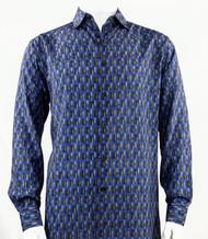 Bassiri Blue Prism Design Long Sleeve Camp Shirt