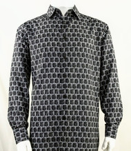 Bassiri Black Prism Design Long Sleeve Camp Shirt