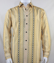 Bassiri Light Yellow Net Design Long Sleeve Camp Shirt