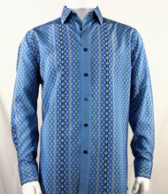 Bassiri Blue Net Design Long Sleeve Camp Shirt