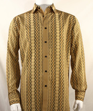 Bassiri Gold Net Design Long Sleeve Camp Shirt