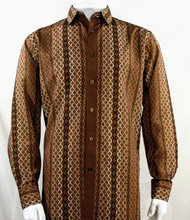 Bassiri Brown Net Design Long Sleeve Camp Shirt