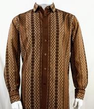 Bassiri Brown Net Design Long Sleeve Camp Shirt