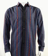 Bassiri Dark Blue Net Design Long Sleeve Camp Shirt