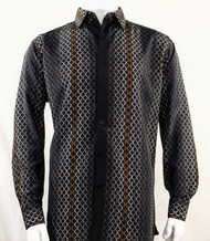Bassiri Black and Tan Net Design Long Sleeve Camp Shirt