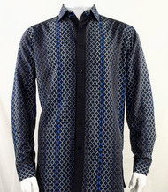 Bassiri Navy Net Design Long Sleeve Camp Shirt