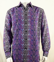 Bassiri Purple Muted Abstract Design Long Sleeve Camp Shirt