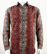 Bassiri Red Muted Abstract Design Long Sleeve Camp Shirt