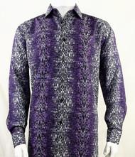 Bassiri Dark Purple Muted Abstract Design Long Sleeve Camp Shirt