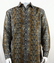Bassiri Dark Gold Muted Abstract Design Long Sleeve Camp Shirt