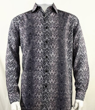 Bassiri Dark Grey Muted Abstract Design Long Sleeve Camp Shirt