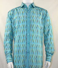 Bassiri Turquoise Crosshatch Pattern Long Sleeve Camp Shirt