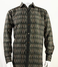 Bassiri Brown Crosshatch Pattern Long Sleeve Camp Shirt