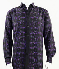 Bassiri Black with Purple Crosshatch Pattern Long Sleeve Camp Shirt