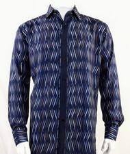 Bassiri Dark Blue Crosshatch Pattern Long Sleeve Camp Shirt