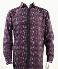 Bassiri Raspberry Crosshatch Pattern Long Sleeve Camp Shirt