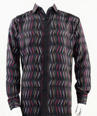 Bassiri Black Multi Color Crosshatch Pattern Long Sleeve Camp Shirt