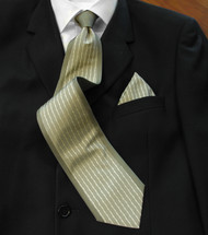 Antonio Ricci 100% Silk Tie & Matching Pocket Square- Olive Border Design