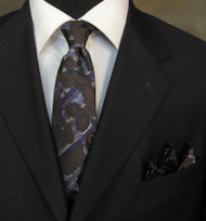 Antonio Ricci Necktie w/ Matching Pocket Square - Blue on Brown