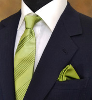 Antonio Ricci Pleated Tie with Pocket Square - Avocado Green