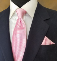Antonio Ricci Satin Diagonal Pleated Tie with Pocket Square - Pink