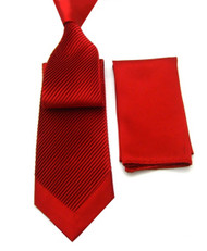 Antonio Ricci Diagonal Pleated Tie with Pocket Square - Red