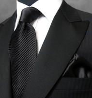 Antonio Ricci Satin Diagonal Pleated Tie with Pocket Square - Black